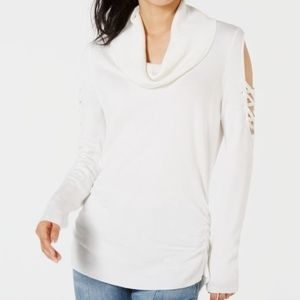 Hooked Up by IOT Cowlneck Cold-Shoulder Sweater